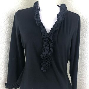 Anne Fontaine Black Ruffle Button Career Blouse 44